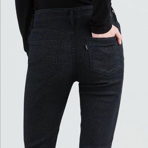 Levi's 751 High Rise Black Sparkle Skinny Jeans 10